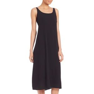 Eileen Fisher 100% Silk Black Tank Dress Size M